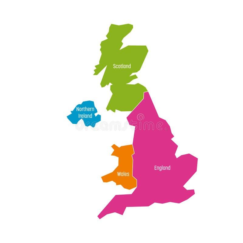 Het Verenigd Koninkrijk, het UK, van de kaart van Groot-Brittannië en van Noord-Ierland Verdeeld aan vier landen - Engeland, Wale stock illustratie