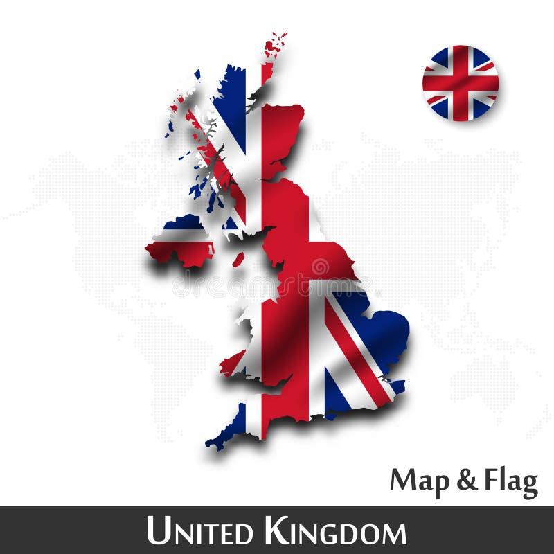Het Verenigd Koninkrijk van de kaart en de vlag van Groot-Brittannië Het golven textielontwerp De kaartachtergrond van de puntwer royalty-vrije illustratie