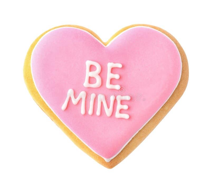 Het verfraaide hart gevormde koekje met uitdrukking IS MIJN royalty-vrije stock foto's