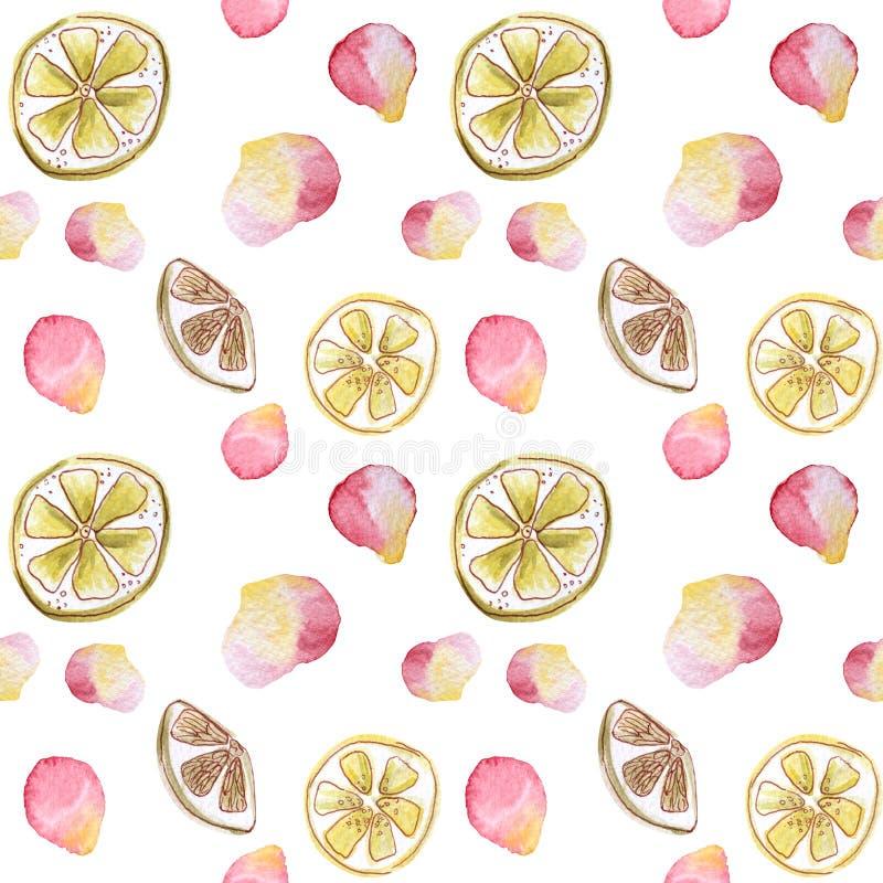 Het verfrissende patroon met citrusvrucht en nam bloemblaadjes toe Waterverf naadloos patroon op witte met de hand gemaakte achte stock illustratie