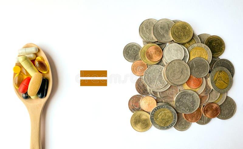 Het vergelijken van geld & drugs stock afbeelding