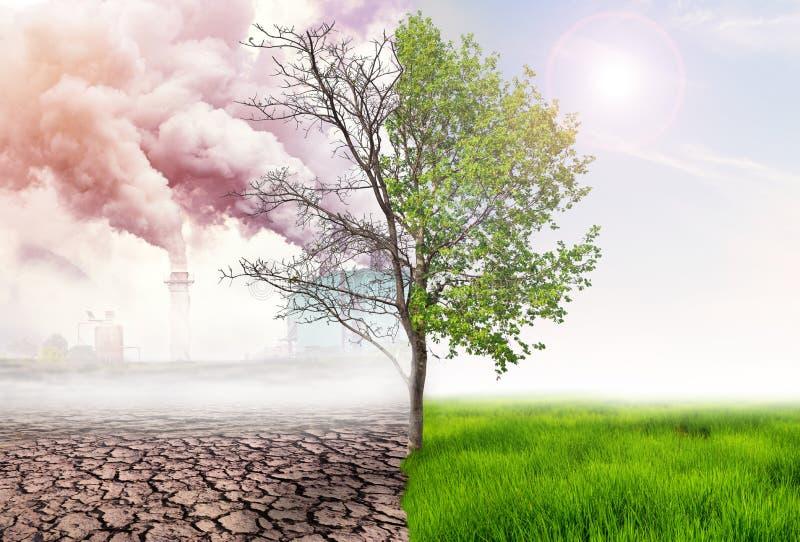 het vergelijken van groene aarde en effect van luchtvervuiling stock foto