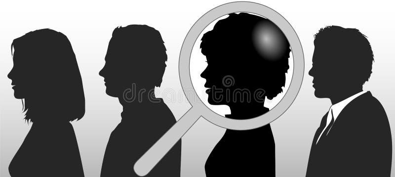 Het vergrootglas kiest Mensen in Rij stock illustratie