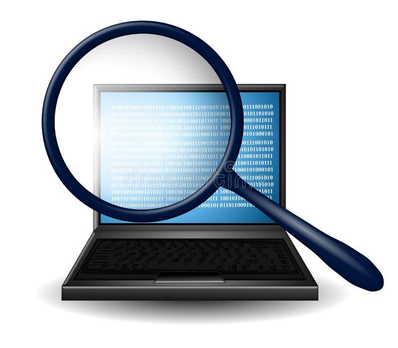 Het Vergrootglas van het Onderzoek van Internet vector illustratie