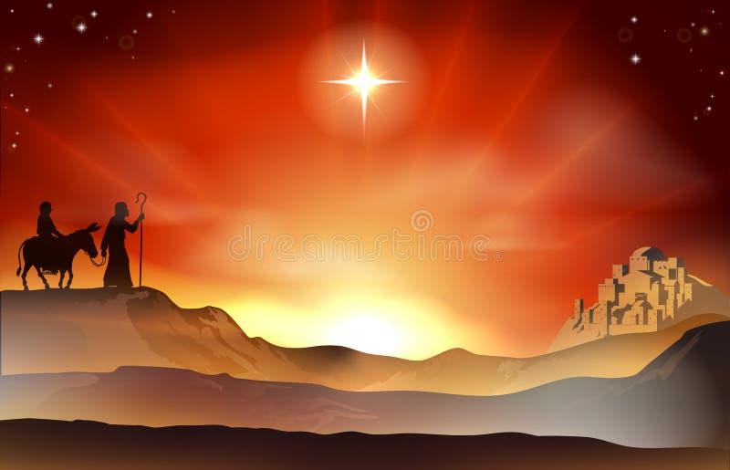 Het verhaalillustratie van geboorte van Christuskerstmis vector illustratie