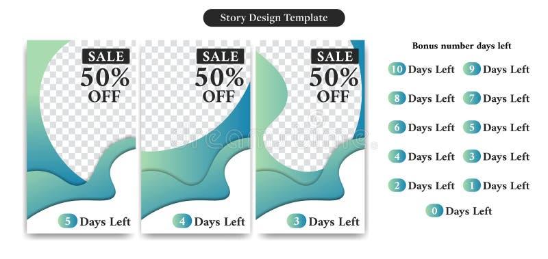 Het het Verhaalmalplaatje van Editableinstagram in In abstract koud kleuren Vloeibaar document sneed stijl voor productverkoop of stock illustratie