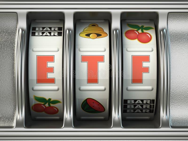 Het verhandelde fonds van ETF uitwisseling als pot op een gokautomaat, Successfu vector illustratie
