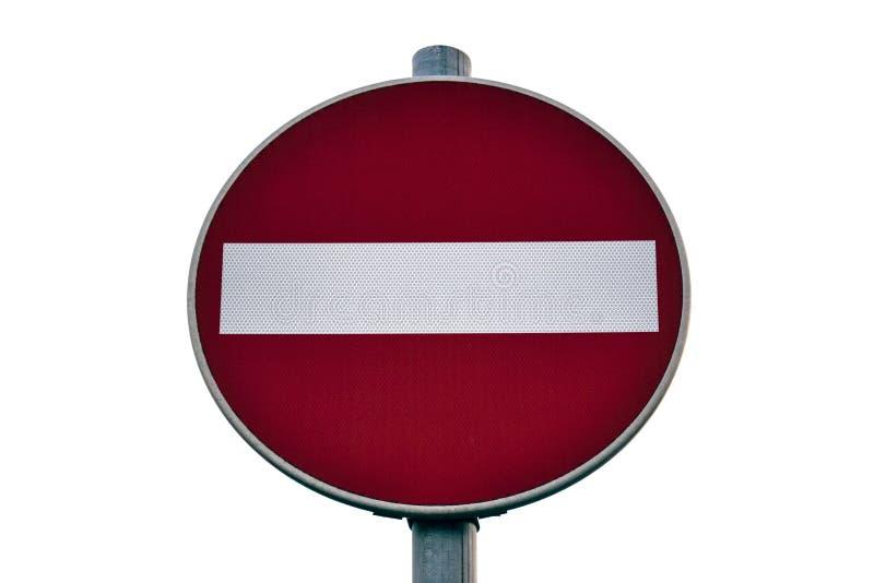 Het verkeer is belemmerd die, verkeersteken op witte achtergrond worden geïsoleerd Rode en witte eindeverkeersteken stock afbeelding