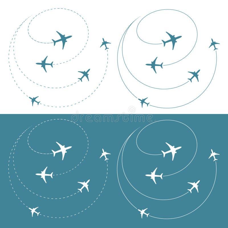 Het verkeer van het vliegtuig rond de wereld vector illustratie