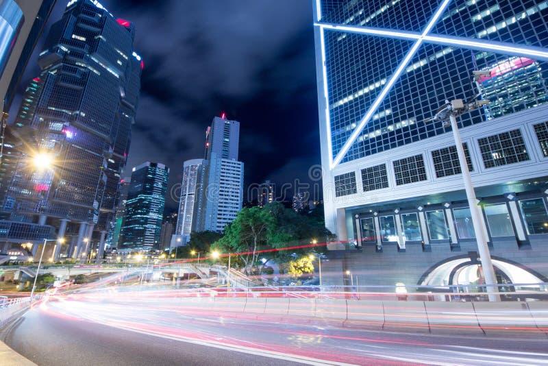 Het Verkeer van Hongkong bij Nacht royalty-vrije stock foto's
