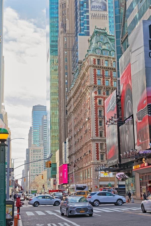 Het Verkeer van New York Manhattan bij Zevende Weg royalty-vrije stock foto's