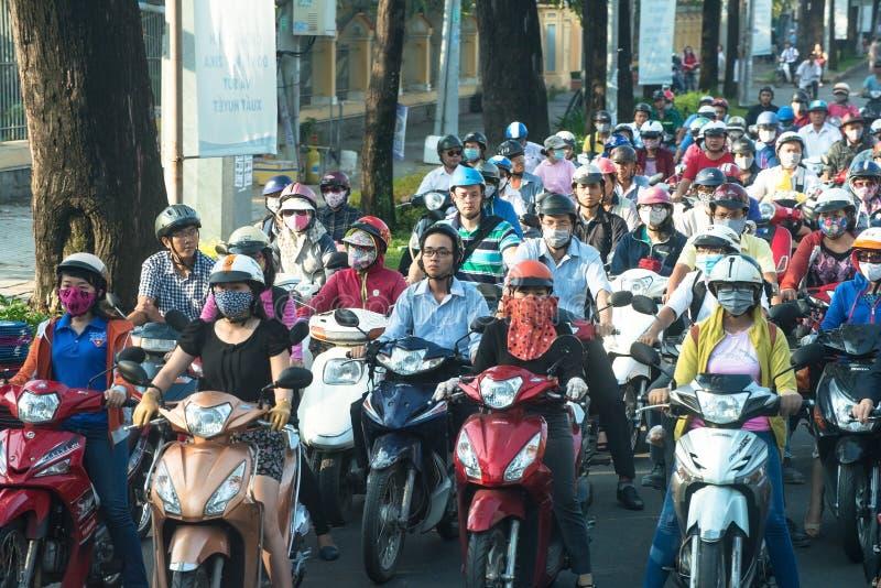 Het Verkeer van Vietnam, Vietnamese Mensen, Reis stock foto