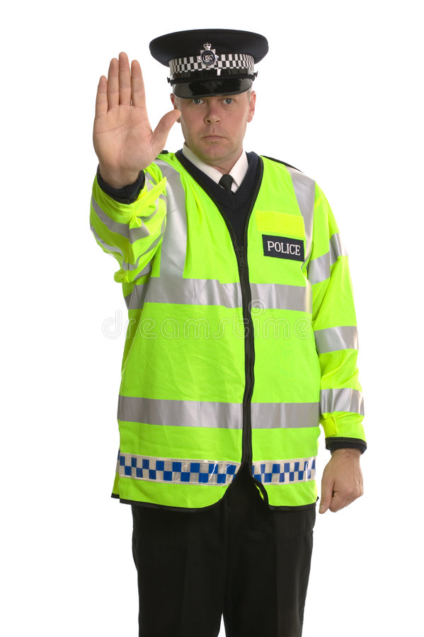Het verkeerseinde van de politie stock fotografie