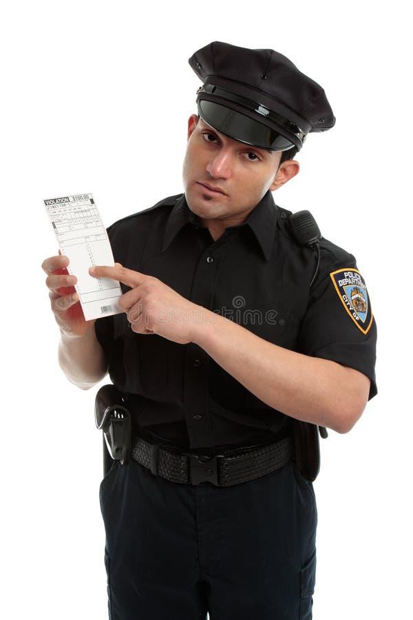 Het verkeershoofd van de politieagent met overtredingskaartje royalty-vrije stock foto