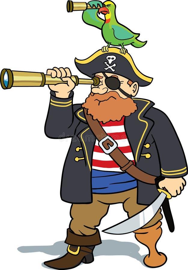 Het verkennen van de piraat en van de papegaai royalty-vrije illustratie