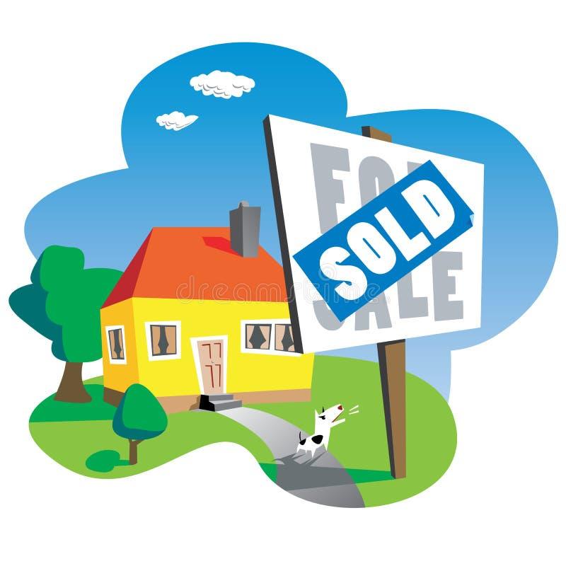 Het verkochte Teken van het Huis vector illustratie