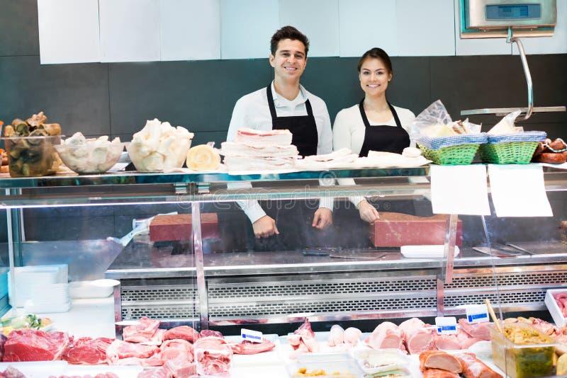 Het verkopende vlees en salo van het opslagpersoneel royalty-vrije stock afbeeldingen
