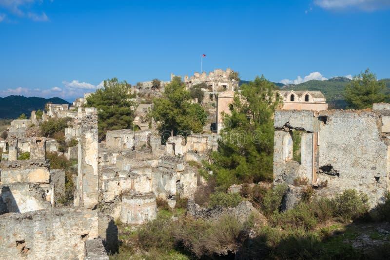 Het verlaten Griekse Dorp van Kayakoy, Turkije royalty-vrije stock foto's