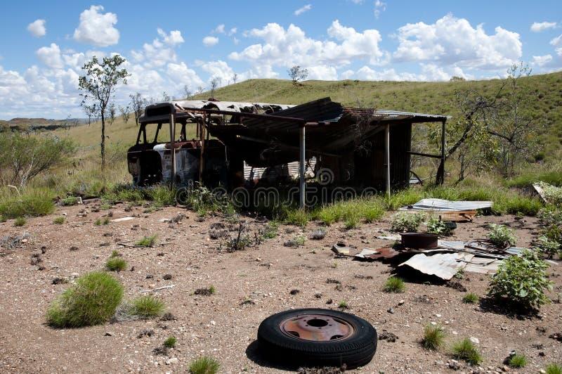 Het verlaten Kamp van de Exploratiemijnbouw - Australië stock foto's