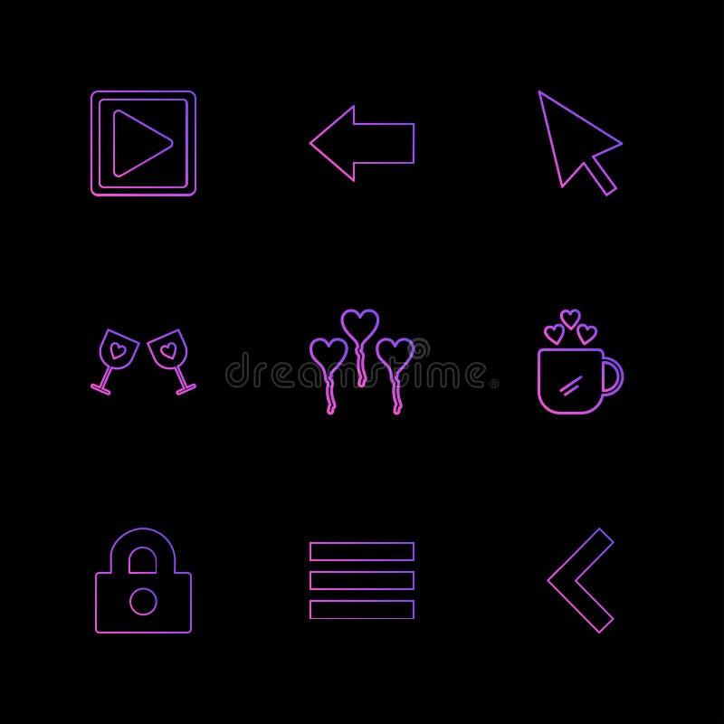 het verlaten spel, wijzer, glasss, hart, kop, slot, menu, ging weg vector illustratie