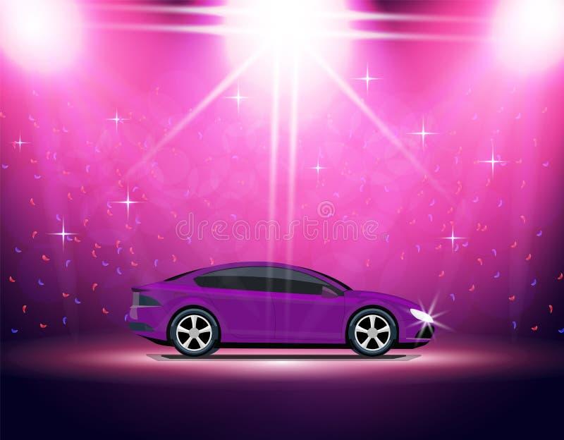 Het verlichtingsstadium, podium, auto toont Automobiele Tentoonstelling Purper Mazda 3 SP Illustratie royalty-vrije illustratie