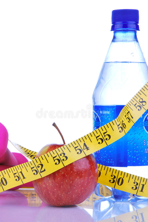 Het verlies dietting concept van het gewicht met meetlint royalty-vrije stock foto