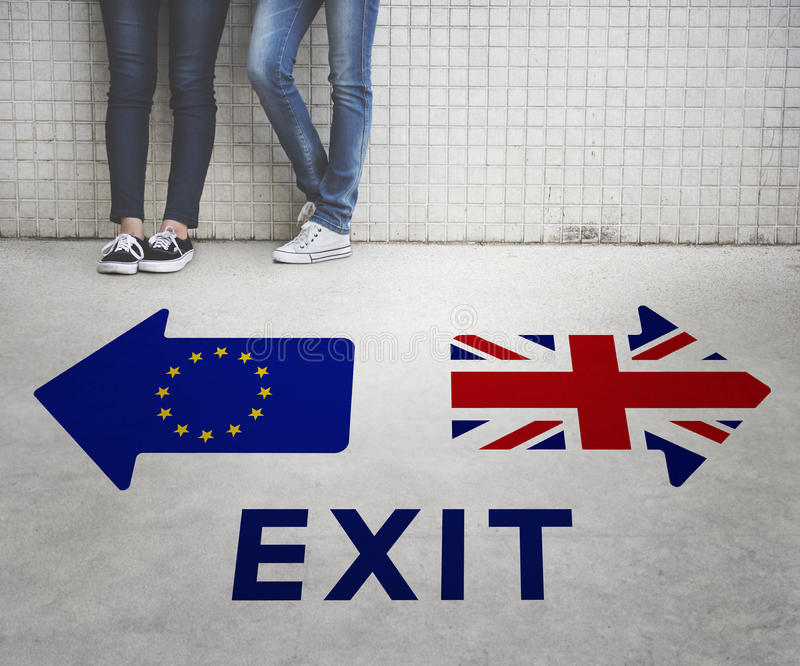 Het Verlof Europese Unie van Brexitgroot-brittannië Opgehouden met Referendumconcept stock foto