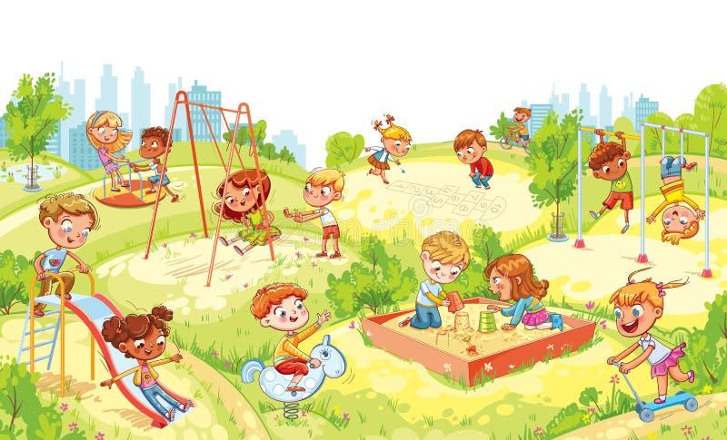 Het vermaak van kinderen complex met schommeling, zandbak, carrousel en dia's royalty-vrije illustratie