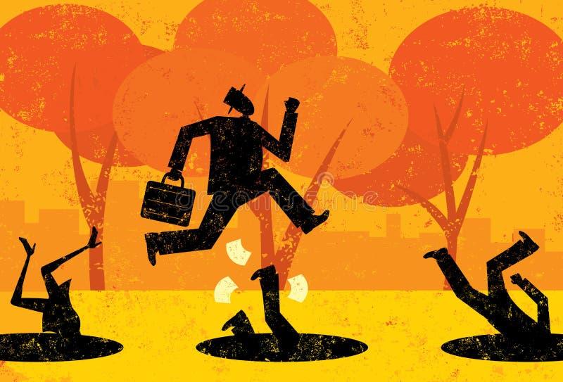 Het vermijden van Bedrijfsvalkuilen vector illustratie