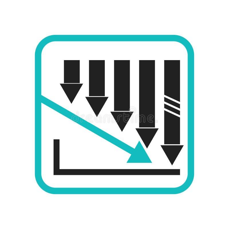 Het verminderen van voorraden verspert grafisch pictogram vectordieteken en symbool op witte achtergrond wordt geïsoleerd, die he stock illustratie