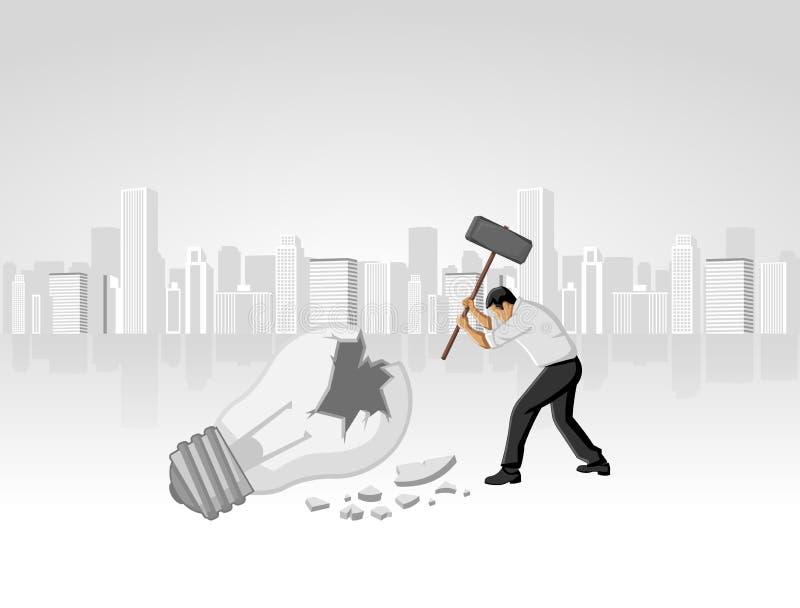 Het vernietigen van idee. vector illustratie