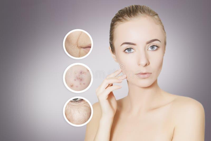 Het vernieuwen van huid: de vrouw haalt haar oude huid, portret over gr. weg royalty-vrije stock fotografie