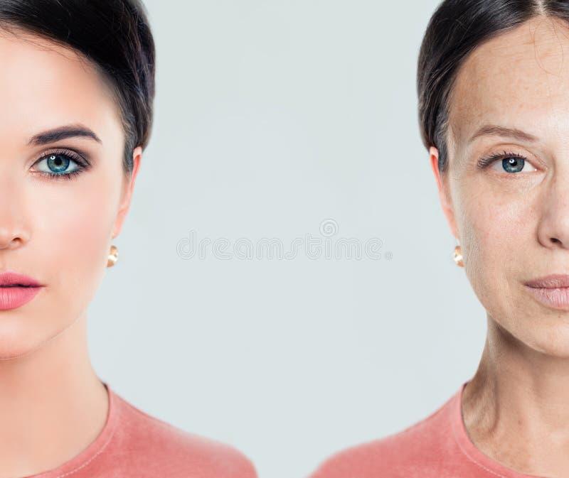 Het verouderen en de jeugd vrouwelijk gezicht Vrouw, schoonheidsbehandeling stock afbeelding