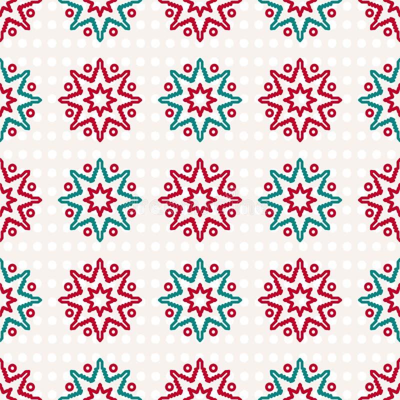 Het verpakkende document voor Kerstmis stelt voor Retro Vrolijke Kerstmisachtergrond met sneeuwvlokken vector illustratie