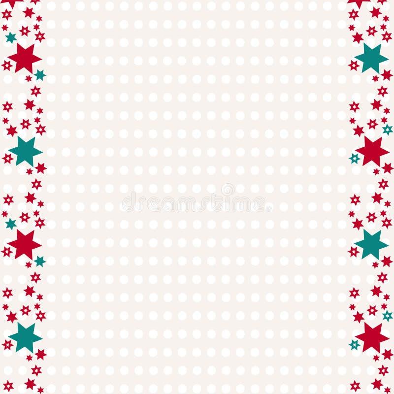 Het verpakkende document voor Kerstmis stelt voor Retro Vrolijke Kerstmisachtergrond met sterren en exemplaarruimte stock illustratie
