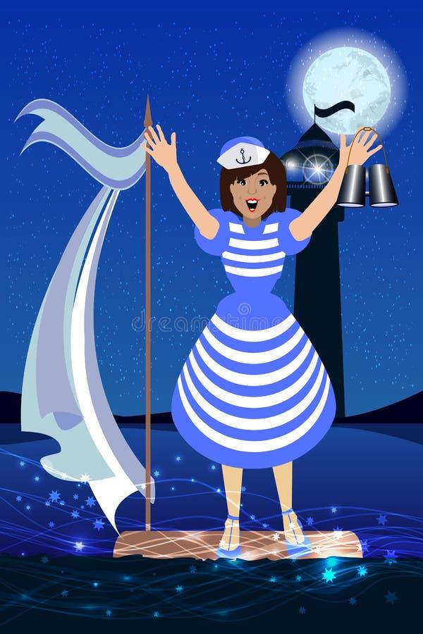 Het verplettert hulp Vlucht aan het vlot van een zeeman vector illustratie