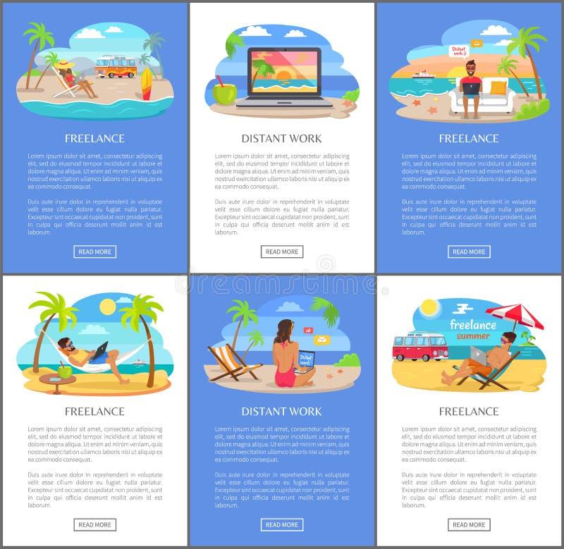 Het verre Werk en Freelance overal Wereldreeks vector illustratie