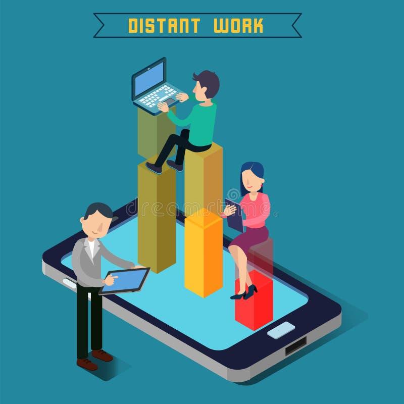 Het verre werk Het werk van het team Moderne technologie Het verre werk stock illustratie