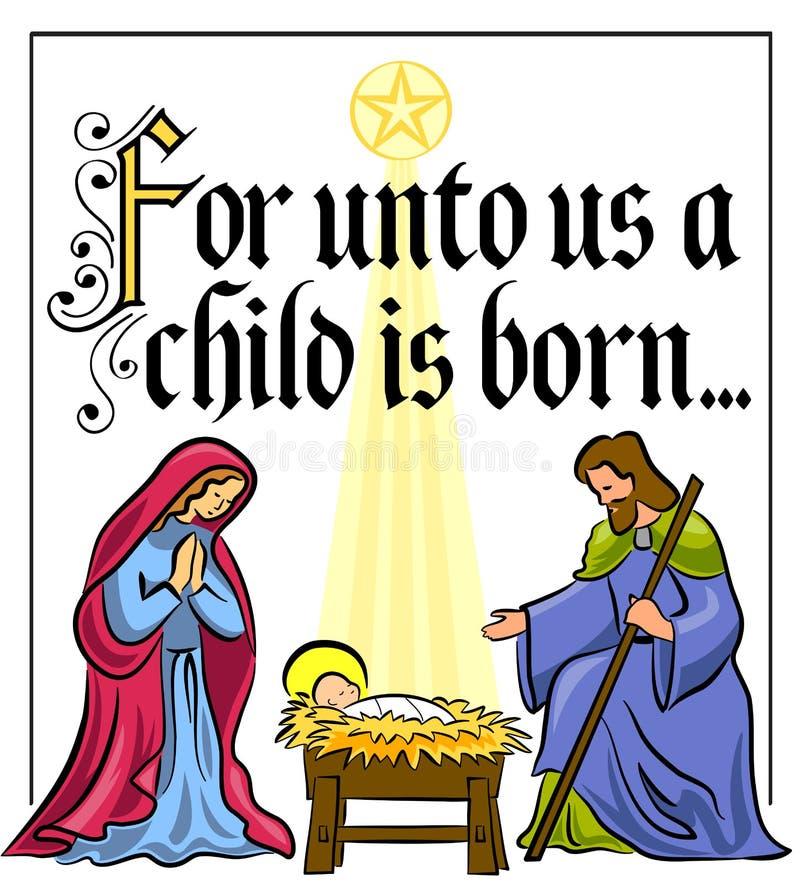 Het Vers van de Geboorte van Christus van Kerstmis royalty-vrije illustratie