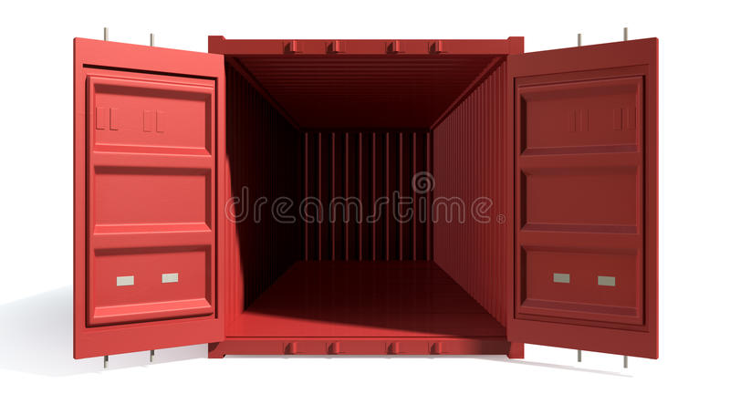 Het verschepen Container Rode Open Leeg vector illustratie