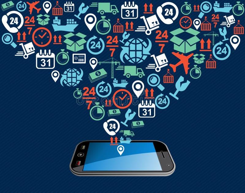 Het verschepen de plons mobiele app van de pictogrammensamenstelling illus royalty-vrije illustratie