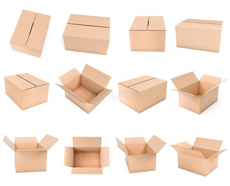 Het verschepen doosspot omhoog Vastgestelde bruine kartons 3d teruggevende ge?soleerde illustratie vector illustratie