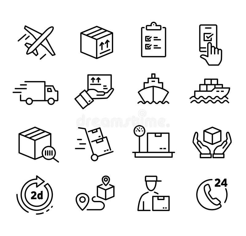 Het verschepen en leveringspictogrammen stock illustratie