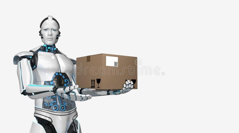Het Verschepende Karton van de Humanoidrobot royalty-vrije illustratie