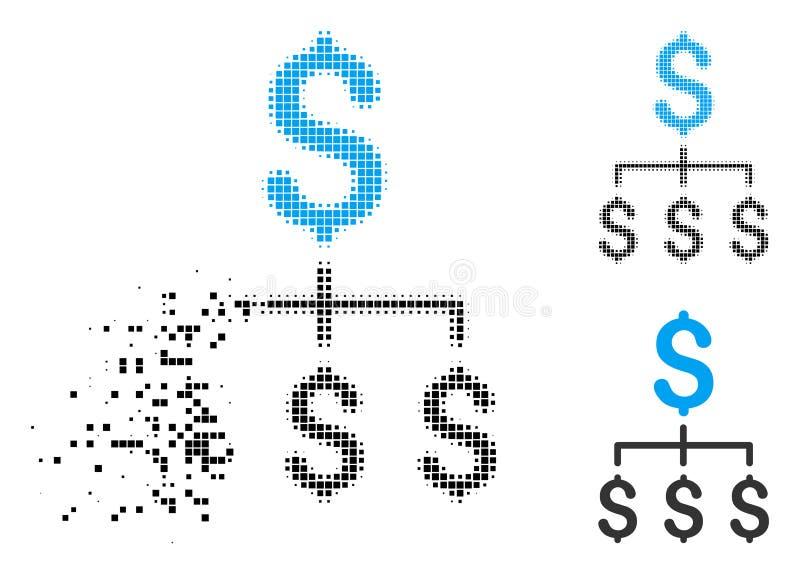 Het verscheurde Pictogram van de Pixel Halftone Financiële Hiërarchie royalty-vrije illustratie