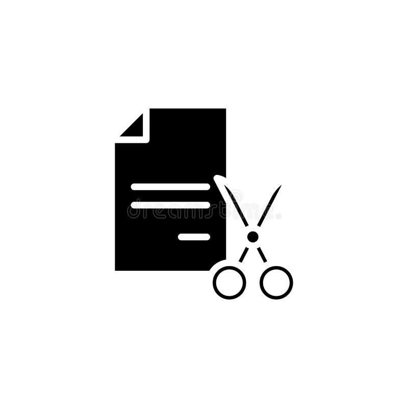 Het verscheuren van concept van het documenten het zwarte pictogram Het verscheuren van documenten vlak vectorsymbool, teken, ill vector illustratie