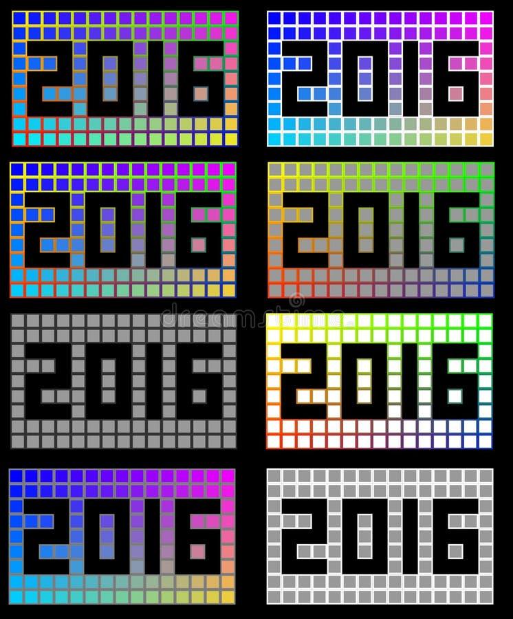 het verschillende gekleurde vierkant van 2016 royalty-vrije stock fotografie