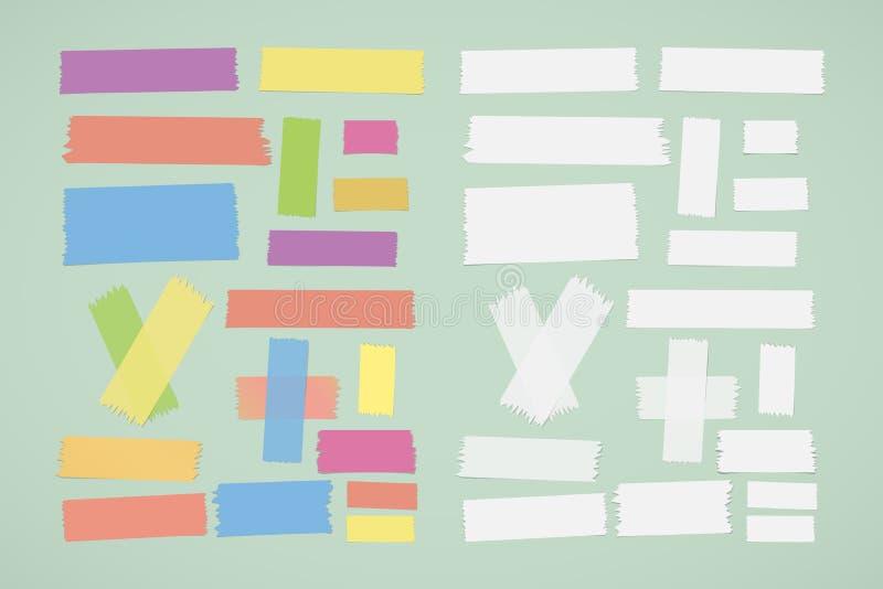 Het verschillende grootte kleurrijke en witte kleverige document, kleefstof, afplakband plakte op groene achtergrond stock illustratie