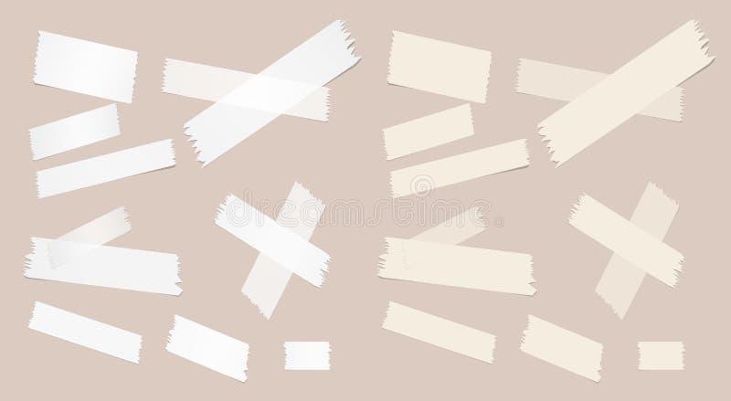 Het verschillende grootte kleverige document, kleefstof, afplakband is op bruine achtergrond vector illustratie