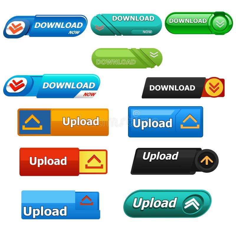 Het verschillende ontwerp van download en uploadt knoop royalty-vrije illustratie
